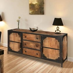 Industrial Rustic Reclaimed Wood 2 Door 3 Drawers Sideboard Cabinet