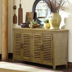 Oklahoma Honey Mango Wood Shutter Door Buffet Cabinet