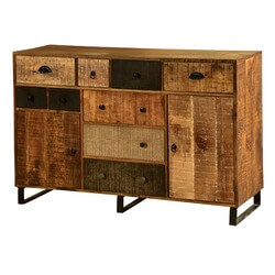 "Wooden Patches Mango Wood & Iron 55"" Buffet Cabinet"