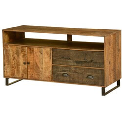 "Wooden Patches Mango Wood & Iron 55"" TV Console Cabinet"