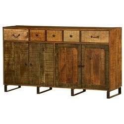 "Wooden Patches Mango Wood & Iron 65"" Standing Sideboard Cabinet"