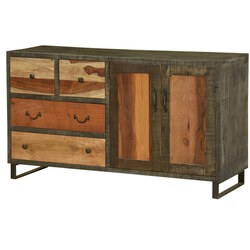 "Wooden Patches Mango Wood & Iron 59"" Sideboard Cabinet"