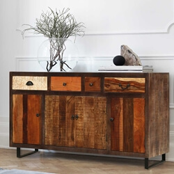 "Wooden Patches Mango Wood & Iron 63"" Sideboard Buffet Cabinet"