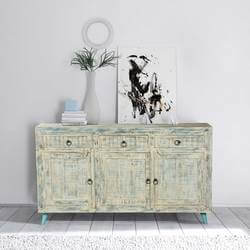 "White Washed Reclaimed Wood Standing 55"" Sideboard Cabinet"