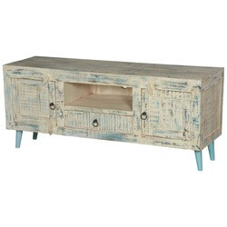 "White Washed Reclaimed Wood 55"" TV Rustic Console Media Island"