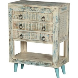 White Washed Reclaimed Wood 3-Drawer Console Chest w Shelf