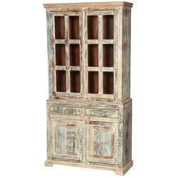 "White Washed Reclaimed Wood 78.5"" Breakfront Hutch Buffet Cabinet"