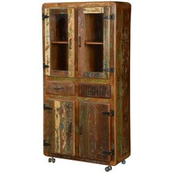 "Pioneer Rustic Reclaimed Wood 71"" Rolling Hutch and Buffet Cabinet"