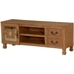 Square in a Square Acacia Wood TV Console Media Cabinet