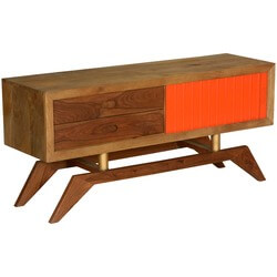 60's Retro Orange & Brown Mango Wood TV Console Media Island