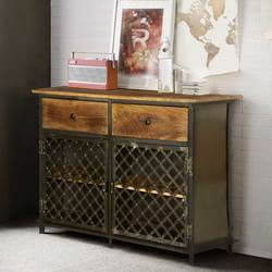 Rustic Gates Mango Wood & Iron Freestanding Buffet Cabinet