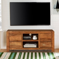 Pioneer Modern Rustic Solid Wood TV Console Media Island Cabinet