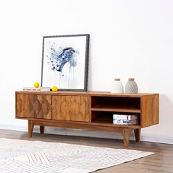 1960's Carved Diamonds Solid Wood TV Console Media Cabinet
