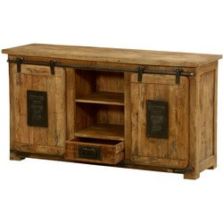 Jupiter Ironworks Mango Wood & Iron Sliding Doors Media Cabinet