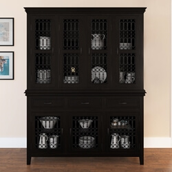 Lincoln Study Solid Wood & Iron Breakfront Buffet Hutch