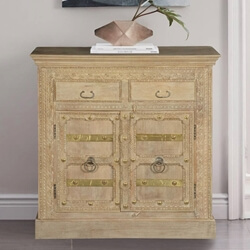 "Winter White Gothic Mango Wood 39"" Freestanding Buffet Cabinet"