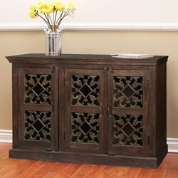 "Diamond Hearts Mango Wood 55.5"" Sideboard Cabinet"