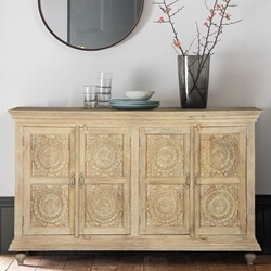 "Winter White Rose Solid Wood 71"" Sideboard Buffet Cabinet"