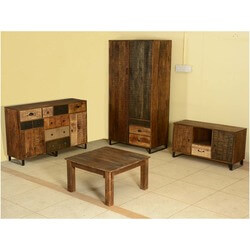 Modern Frontier Mango Wood 4pc Storage & Coffee Table Group