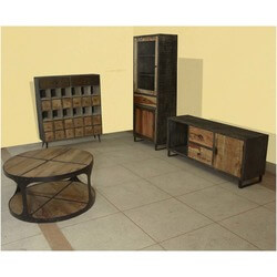 Rustic Farmhouse Mango Wood & Iron Living Room Cabinet Collection