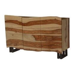 Wooden Waves Solid Wood & Iron Sideboard Cabinet