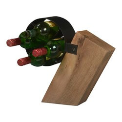 Modern Frontier Acacia Wood & Iron Countertop 4-Wine Bottle Rack