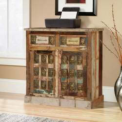 Reclaimed Wood 2 Drawer Storage Cabinet with Embossed Brass Buddha