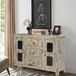 Winter Storm Mango Wood Freestanding Buffet Cabinet