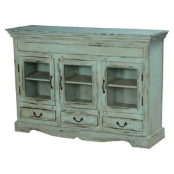 Blue Dutch Boy Mango Wood Display Buffet Cabinet