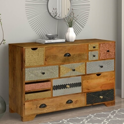 "Crazy Quilt Mango Wood 47"" Sideboard 14 Drawer Chest"
