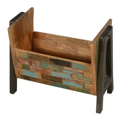 Wooden Bricks Reclaimed Wood & Iron Magazine Bin