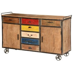 Primary Colors Rustic Mango Wood & Iron Rolling Buffet Cabinet