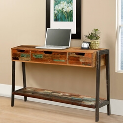 Painted Bricks Reclaimed Wood & Iron Hall Console w Drawers
