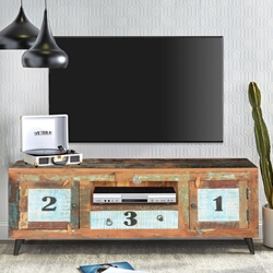 1-2-3 Modern Frontier Rustic Reclaimed Wood TV Media Console Furniture