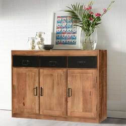 "Industrial Pioneer Mango Wood & Iron 51"" Freestanding Buffet"