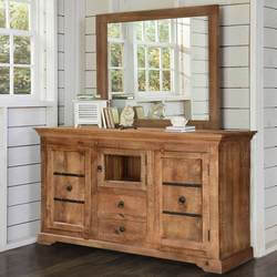 Gothic Rustic Mango Wood Freestanding Buffet Cabinet