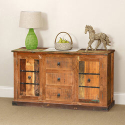 Classic Country Rustic Reclaimed Wood Sideboard Cabinet