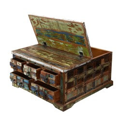 "Rustic Plaid Reclaimed Wood 36"" Sq 5 Drawer Coffee Table Chest"