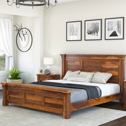 Modern Farmhouse Solid Wood 3pc Bed & Nightstands Suite