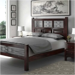Mission Romance Solid Wood & Iron Platform Bed with Nighstands