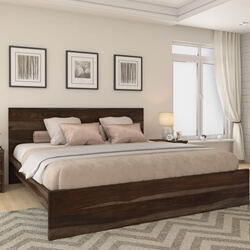 Modern Simplicity Solid Wood Platform Bed Frame w Nightstand