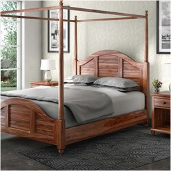 Livingston Solid Wood Canopy Bed w Nightstands