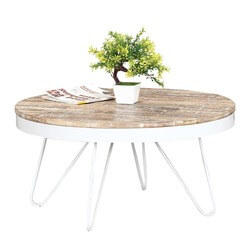 "Winter White Mango Wood & Iron 31"" Round Accent Coffee Table"