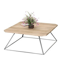 Trapezoidal Prism Base Solid Wood & Iron Coffee Table