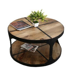 "Industrial 35"" Round Mango Wood & Iron 2-Tier Accent Coffee Table"