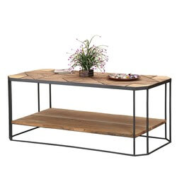 "Modern Diamond Jim Reclaimed Wood & Iron 46"" 2-Tier Coffee Table"