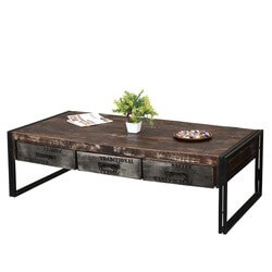 "Industrial Midnight Mango Wood & Iron 60"" Coffee Table w Drawers"