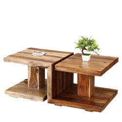 Yin & Yang Solid Wood Double Pedestal 2 Top Coffee Table
