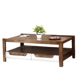 60's Retro Mango Wood 2 Tier Raised Edge Coffee Table w Drawers