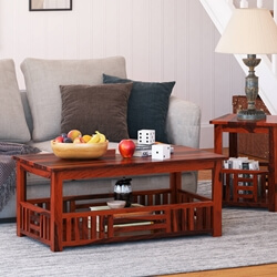 "Wooden Basket Mango Wood 2-Tier 43"" Coffee Table"